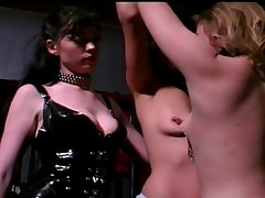Two babes and nipple clamps