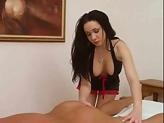 Hot brunette handjob after massage