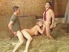German Blondi fucking with 2 boys