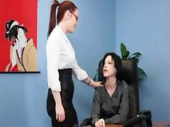 Redhead lesbian office fun