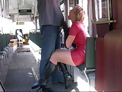 Red latex skirt ballet upstairs maid blows