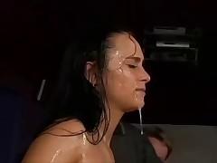 Chick gets Cum bath