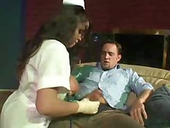 Very hot and Sexy Nurse with Very Big Tits helps guy out