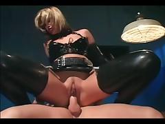 Uniformed female fucking in latex lingerie