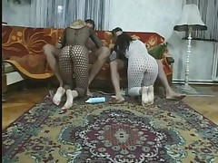 2 chicks suck fuck and get their soles creamed