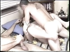 Hubby Masturbates While Wife Gets Fucked