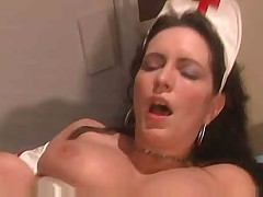 Very Hot and Sexy Busty Nurse Trys to help out older guy