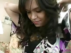 Stunning German-Japanese shows her huge boobs