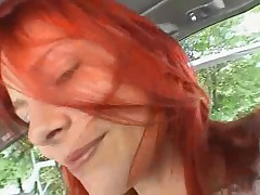 Redhaired hot girl masturbates and blows him up in car - german - csm