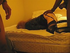 Vinyl Amateur Tranny Trinity Gets Plowed By Hung Black Stud.