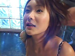 Cute asian swallows a load then gets a cum glazing!!