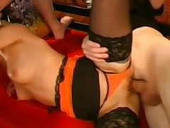 Hot Blonde in German Gangbang Bukkake