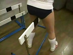 Japanese schoolgirl humping around the gym