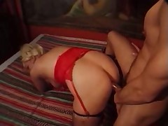 Blond TS in red