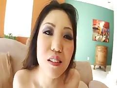 Asian girl swallow two cum