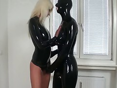 Strapon girl in latex