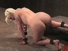 Lorelei Lee tied gangbanged in a metal shop