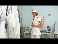 Mature Nurse Has a Close Inspection