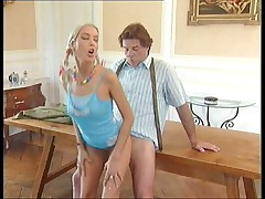 Old German clip, older guy and young pussy's