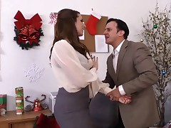 Super sweet british brunette MILF office fuck