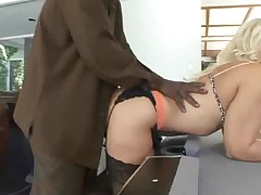 Beautiful blonde with a nice fucking cunt by black dick