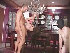 Cuckold hot blonde watches Milf get fat dick in mask