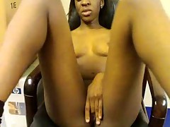 African girl masturbates in office