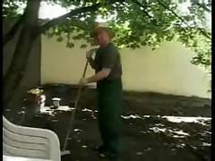 German HouseFrau Fucks The Gardener