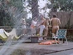 Classic 1970s poolside orgy!