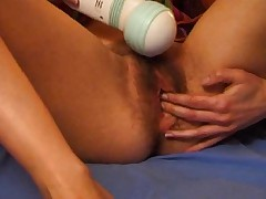 Hairy Babe Uses Big Massager to Multiple Orgasms