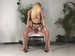 Tranny Reneta Erect while Fucked and Cum on Tits