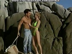 Desolated beach sex in retro porno