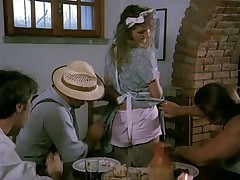 Cute italian waitress gangbanged by three workers