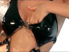 Busty blonde babe fucking in fishnet and latex