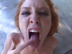 Teen redhead assfucked then multiple spunk for mouth
