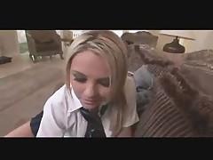 Horny Blonde Officegirl Blowjob POV