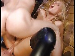 German blond gets hot double fucked and facialed