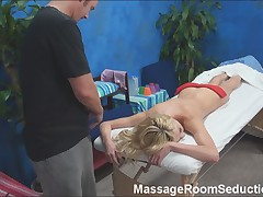 Hot Blonde Seduced on Massage Table