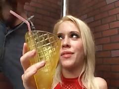 Saggy, pierced tits bukkake