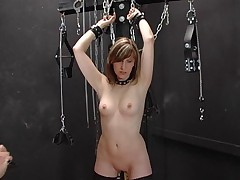 Blonde slave in stockings abused and gangbanged