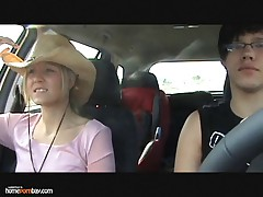 Blond babe loves car sex