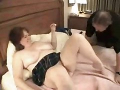 Nerdy Video Gaming Type Hubby Eats BBC Cum from Fatso Wife!