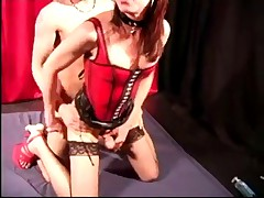 Teen TS in latex corset bangs guys tight ass