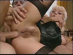 Italian Maid In Stockings Gets Service From 2 Guys