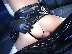 Latex Brunette Girl playing with Dildo and interracial Fuck