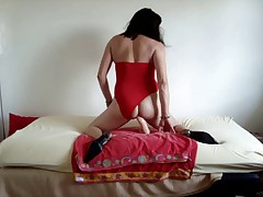 Broad in the beam cock in my sexy red swimsuit