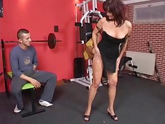 German gym mature double penetrated