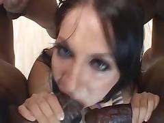 Extreme brunette throat destruction by black cocks