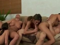 4 girls - 1 guy Very Hot!