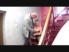 German mom fucked at stairs